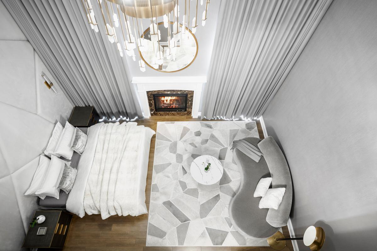 bedroom-interior-design-geometric-gray-white-rug-pattern