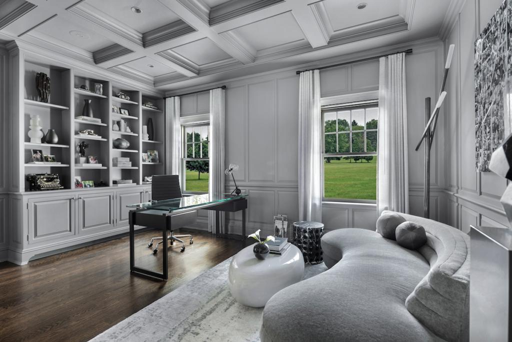 Monochromatic Gray Office Study Interior Design Manuella Moreira